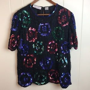 Vintage 70s/80s Silk Sequined Rose Party Top